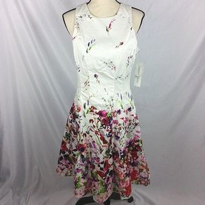 Maggie London Sleeveless Fit Flare Dress Floral